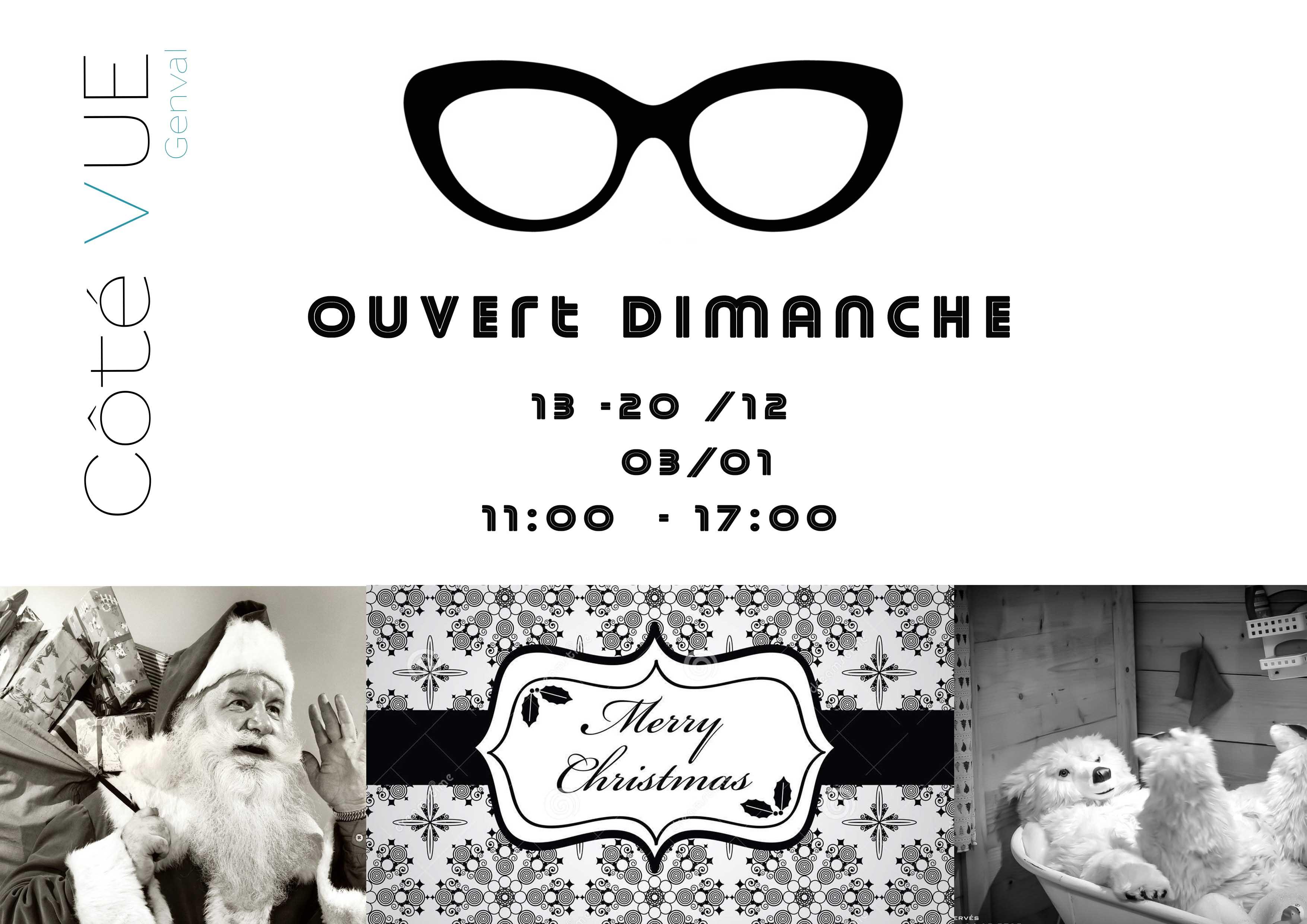 Votre opticien de Genval sera ouvert le dimanche durant la période des Fêtes